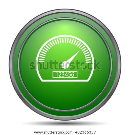 Speedometer icon. Internet button on white background.