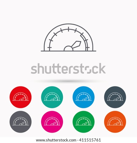Speedometer icon. Speed tachometer with arrow sign. Linear icons in circles on white background. - stock photo
