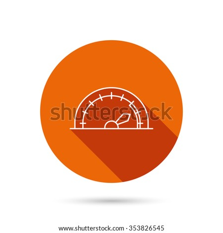 Speedometer icon. Speed tachometer with arrow sign. Round orange web button with shadow. - stock photo