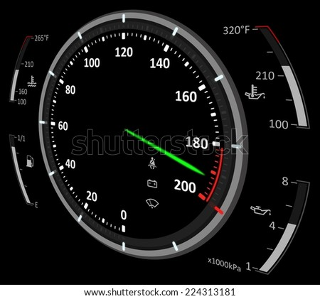Speedometer illustration - stock photo