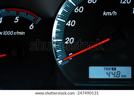 speedometer in a car - stock photo