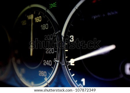 speedometer in car close up - stock photo