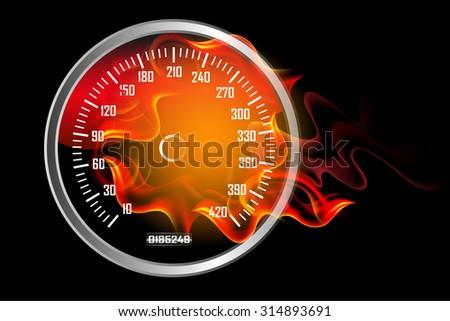 Speedometer in Fire - stock photo