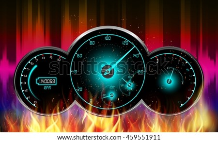 Speedometer in fire