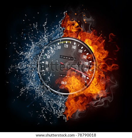 Speedometer in fire and water. Illustration of the speedometer enveloped in elements isolated on black background. High resolution speedometer in fire and water image for a guitar concert poster. - stock photo