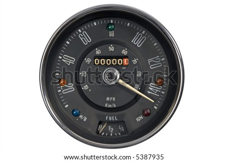 Speedometer in mph and kmh of classical vehicle - stock photo