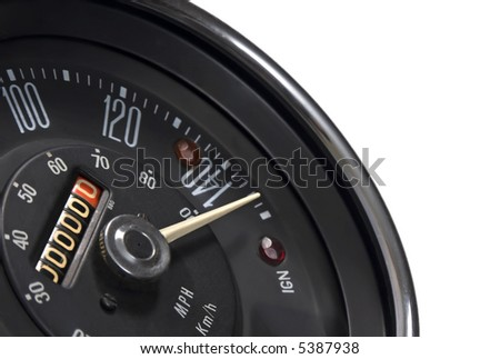 Speedometer in mph and kmh of classical vehicle