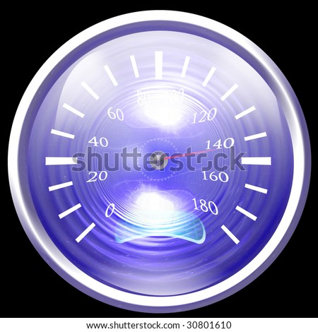 Speedometer isolated on a dark black background - stock photo