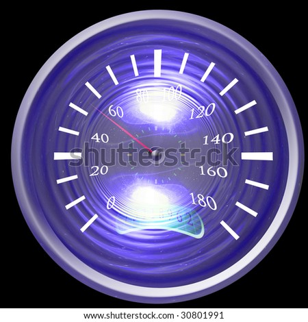 Speedometer isolated on a solid dark background - stock photo