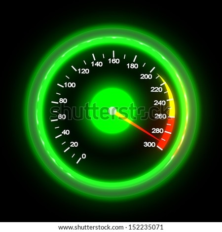 Speedometer isolated on black - stock photo