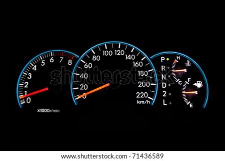 Speedometer isolated on the black. - stock photo