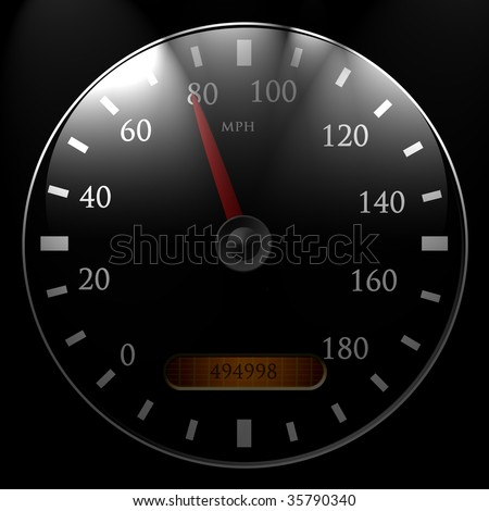 Speedometer 80 mph on a black background - stock photo