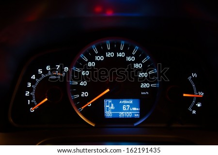 Speedometer of a car illuminated