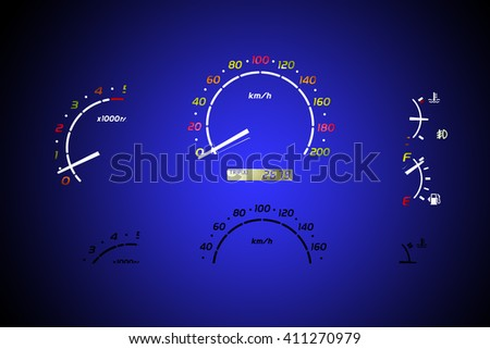 Speedometer of a car on green color background. - stock photo