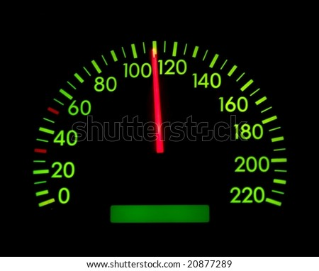 Speedometer of a car showing 110