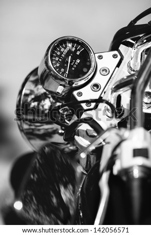 speedometer of a motorcycle - stock photo