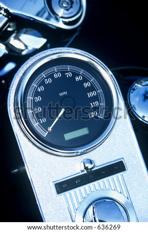 Speedometer on a motorcycle - stock photo
