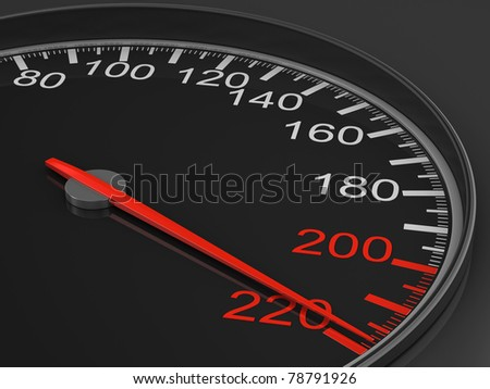 speedometer on black background. 3D image - stock photo