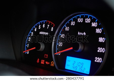Speedometer on dashboard