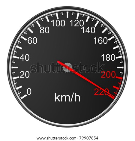 speedometer on white background. 3D image - stock photo