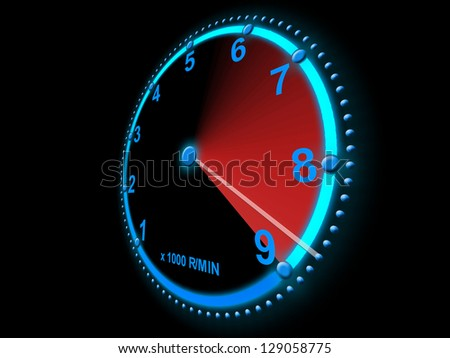 Speedometer scoring high speed - stock photo
