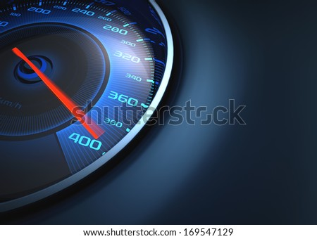 Speedometer scoring high speed. Your text on the right side. - stock photo