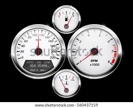 Speedometer Tachometer Fuel Temperature Gage Car Stock Vector - Car signs on dashboardcar dashboard signs speedometer tachometer fuel and temperature