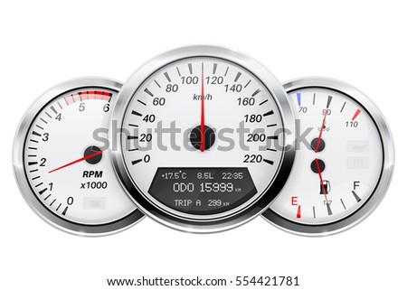 Speedometer, tachometer, fuel and temperature gauge. Car dashboard. 3d illustration isolated on white background. Raster version.