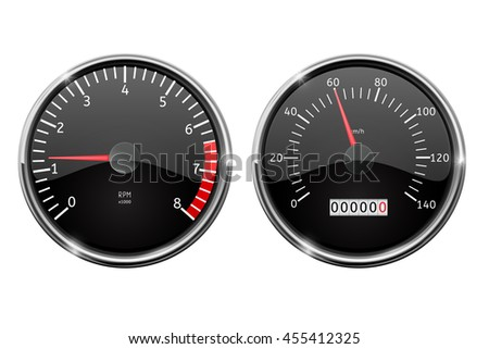 Speedometer, tachometer. Illustration isolated on white background. Raster version