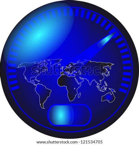 speedometer with a map of the world - stock photo