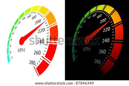 Speedometer with moving arrow and high speed in perspective view - stock photo