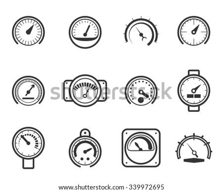 Speedometers, manometers, tachometers and barometers icons - stock photo