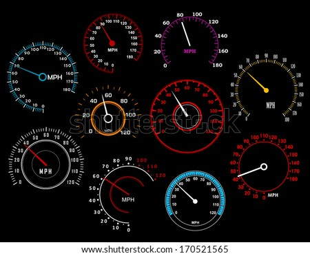Speedometers set isolated on background for racing sport or transportation industry design. Vector version also available in gallery - stock photo