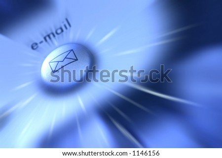 "Speedy Delivery: Conceptual image to illustrate the instant delivery of messages sent via e-mail. Blue tone achieved by adjusting white balance, zoom blur for movement of ""e-mail"". - stock photo"