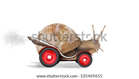Speedy snail like car racer. Concept of speed and success. Wheels are blur because of moving. Isolated on white background - stock photo