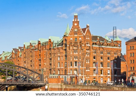 Speicherstadt district (City of Warehouses) in Hamburg, Germany. In July 2015 this largest warehouse district in the world received the UNESCO world heritage status - stock photo