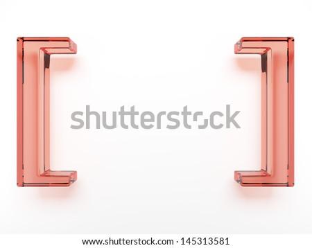 Spelling glass brackets - stock photo