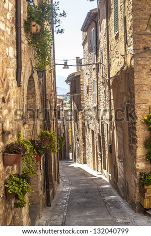Spello (Perugia, Umbria, Italy) - Typical alley with potted plants and flowers - stock photo