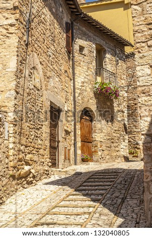 Spello (Perugia, Umbria, Italy) - Typical old alley with steps