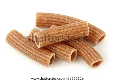 Spelt pasta isolated on white background - stock photo