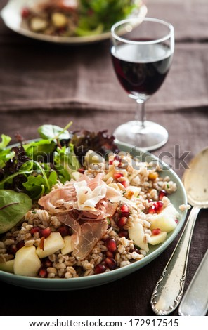 Spelt salad with pomegranate and roasted chestnuts - stock photo
