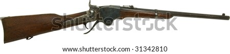 Spencer rifle from old west isolated on white - stock photo
