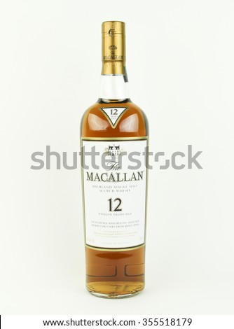 SPENCER , WISCONSIN, December,27, 2015    Bottle of  Macallan 12 year old Scotch Whisky   The Macallan Distillery is a single malt distillery in Craigellachie Scotland - stock photo