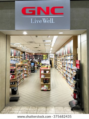 SPENCER , WISCONSIN, February,12,, 2016    GNC store in a retail shopping mall - stock photo