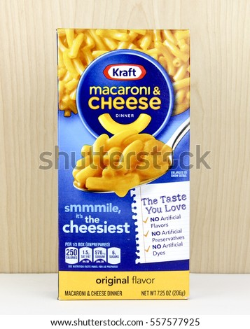 Spencer, Wisconsin, January,12,2016,   Box of Kraft Macaroni & Cheese  Kraft is an American based company