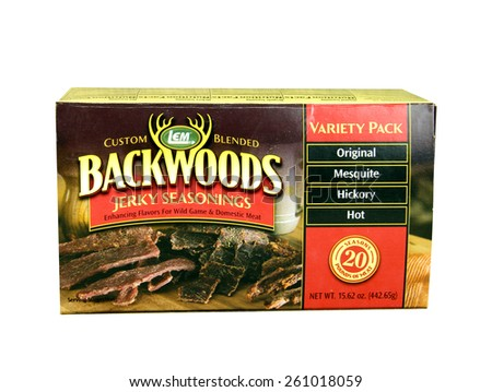 SPENCER , WISCONSIN, March, 16, 2015  Box of  Backwoods Jerky Seasonings. Backwoods Seasonings are made by LEM company that was founded in 1996
