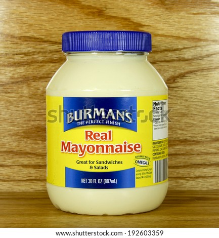 SPENCER , WISCONSIN May 13 , 2014: jar of Burman's Mayonnaise. Burman's is a provider of food and groceries for specialty stores. - stock photo