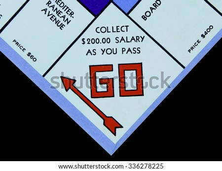 SPENCER , WISCONSIN, November, 6, 2015   Monopoly Board Game GO Square  Monopoly was first introduced by Parker Brothers in 1935 - stock photo