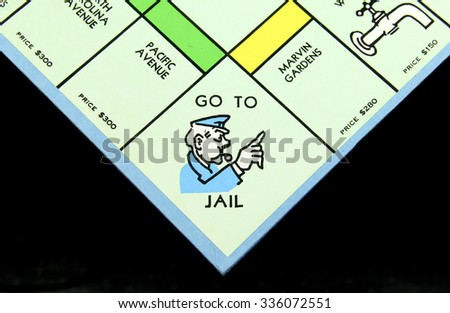 SPENCER , WISCONSIN, November, 6, 2015   Monopoly Board Game Go to Jail Square  Monopoly was first introduced by Parker Brothers in 1935 - stock photo