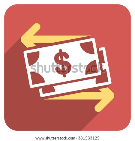 Spend Banknotes long shadow glyph icon. Style is a flat symbol on a red rounded square button. - stock photo